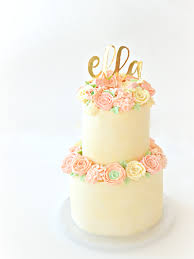 2 Tiers Pastel Buttercream Flowers Birthday Wedding Cake With Gold