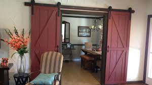 interior sliding barn door. Interior:Awesome Red Painted Wood Sliding Barn Door Decor With Brown Ceramic Floor Added Striped Interior D
