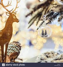 Reindeer Silhouette Lights Christmas Background With Golden Deer Silhouette Fir