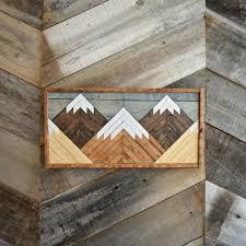 stained reclaimed barn wood mountain scene wall art