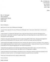 Restaurant Manager Resume Cover Letter Restaurants Cover Letter