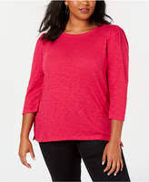 Inc Plus Size Cotton Puff Sleeve Top