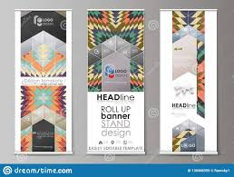 Flyers Flag Roll Up Banner Stands Abstract Design Geometric Style