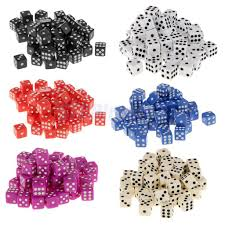 <b>50Pcs</b> 12mm Six <b>Sided</b> Spot Acrylic <b>Dice</b> Bar Party Die Family Fun ...