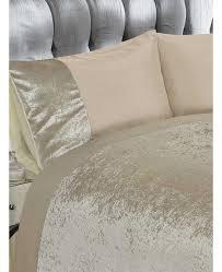 crushed velvet natural king size duvet cover bedding set