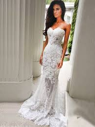 buy mermaid sweetheart sweep train ivory lace wedding dress with
