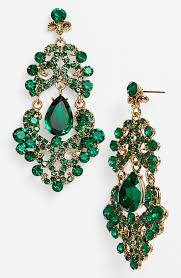 faux emerald chandelier earrings musethecollective