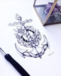 Zhenya Shubina в Instagram Tattoo Anchor Flowers Sea