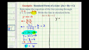 ex 1 find the equation of a line in standard form given two points