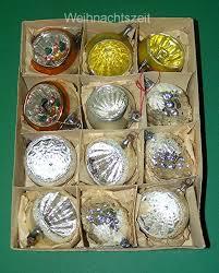 Weihnachten 12 Teile Sehr Alter Baumschmuck 9 Reflexkugeln