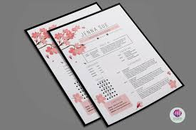 Floral Resume Template Resume Templates On Thehungryjpeg Com 1506
