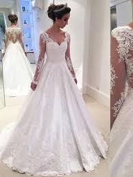 V Neck Long Sleeves Appliques A Line Wedding Dress Tbdress Com