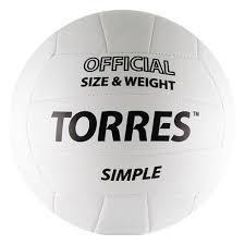 <b>Мяч волейбольный TORRES</b> Simple, р.5, бело-черный (V30105 ...