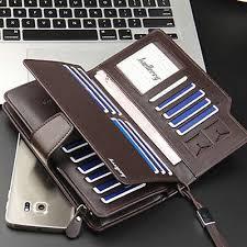 Luxury Men's Leather <b>Long Wallet Clutch Zipper</b> Handbag <b>Phone</b> ...