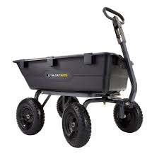 details about gorilla carts utility dump cart 1 200 lb poly multi use heavy duty yard garden