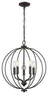 thomus 5 light chandelier oil rubbed bronze with clear glass ball