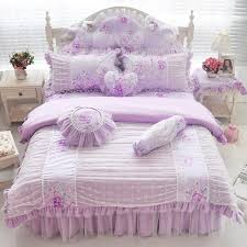 pink blue purple cotton lace bedding set twin full queen king size girls children double single bed skirt duvet cover set gift blue and white bedspread