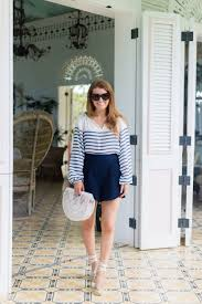 vince camuto ladder stripe peasant blouse and milly italian cady petal trapunto shorts
