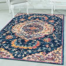 bohemian navy blue rug 2 x 3
