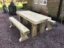 Rustic garden furniture Hand Rustic Solid Wooden Sleeper Outside Table And Benches garden Furniture Pinterest Rustic Garden Table Ebay