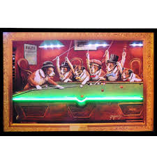 dogs playing pool neon led rec room sign