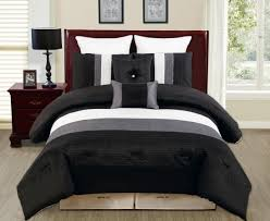 luxury design bedroom ideas with white grey black veneto reversible comforter bedding set and cherry leather