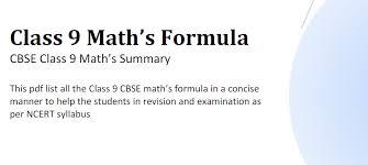 Download Maths Formula Pdf Class 9