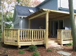 fabulous exterior design with covered patio and deck railing designs also wood decks ideas
