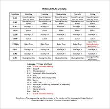 Summer Camp Daily Schedule Template 13 Camp Schedule Templates Pdf Doc Free Premium Templates