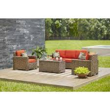 wicker patio furniture sets. Laguna Point 4-Piece Brown All-Weather Resin Wicker Patio Deep Seating Set  With Wicker Patio Furniture Sets