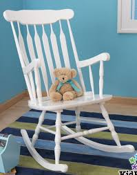 Image Solid Wood Shop Three Brothers New Large White Wooden Nursery Rocking Chair Indoor Rocker