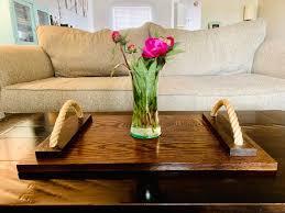 serving tray oak ottoman tray table