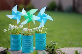 little pports diy pinwheel craft pleted pinwheels in painted cans