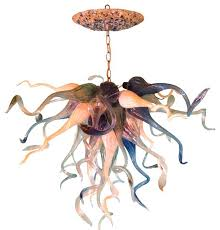 dramatic lamps and lighting hand blown glass chandelier sea blue beach chandeliers