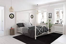 Amazon.com: DHP Rosedale Metal Canopy Bed, Queen Size - White ...
