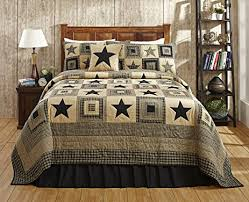 Amazon.com: Colonial Star Black and Tan Primitive Country Quilt ... & Colonial Star Black and Tan Primitive Country Quilt Set - 5 Piece  (Queen/Full Adamdwight.com