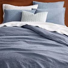belgian flax linen melange duvet cover shams shadow blue west elm