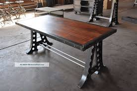 industrial furniture table. Appealing Vintage Industrial Dining Table With Steel Legs And Concrete Flooring For Interior Design Ideas Furniture C