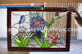 stained glass stained glass insert purple iris erfly window panel we do custom work email