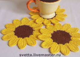 Crochet Sunflower Pattern Interesting Sunflower Coaster Crochet Crochet Coasters Pinterest