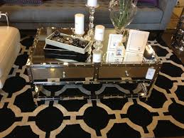 dining room table mirror top: modern rectangle mirrored coffee table with glass top double drawer and stainless steel frame for small living room with black carpet tiles ideas
