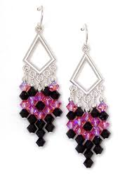 03 04 937 fuchsia jet crystal chandelier earrings