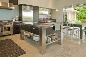 Kitchens:Small Kitchen With Stainless Steel Kitchen Island Also Dark Kitchen  Counter Small Kitchen With