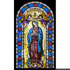 """Virgin of Guadalupe"""" Religious Stained Glass Window"""