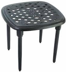 hampton bay 22 in aged bronze patio side table black outdoor cast aluminum