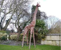 large and tall metal painted giraffe sculpture garden sculptures ornaments