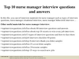 Top 10 Nurse Manager Interview Questions And Answers Pdf Ebook Free D