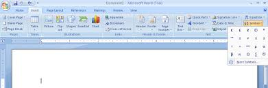 insert recently used symbols and special characters symbols special characters doentation microsoft office word 2007 tutorial