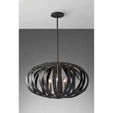 feiss woodstock large 6 light chandelier pendant in a textured black finish