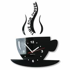 coffee clock kitchen wall clock mute